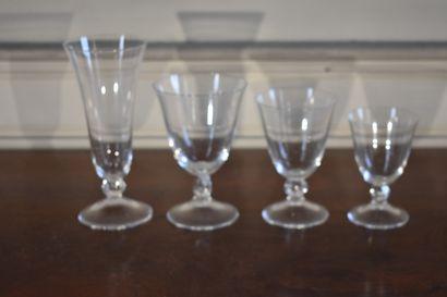 Partie de service en cristal par DAUM, modèle Orval  Comprenant 11 flûtes, 12 verres...