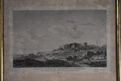 D'après Louis Gabriel I MOREAU (1740-1806)  Vue du Château de Montmorency-Luxembourg...