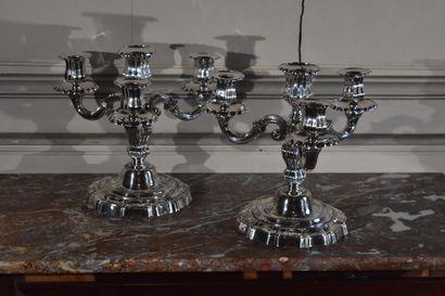 Paire de candélabres en bronze argenté, dans...