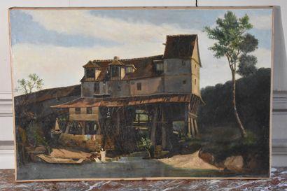 Ecole française du XIXe siècle  Les blanchisseuses...