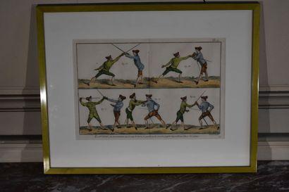 Robert BENARD (1734-c.1786)  Escrime  Gravure en couleur  24 x 36 cm (à vue)