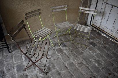 Quatre chaises de jardin, début du XXe siècle...