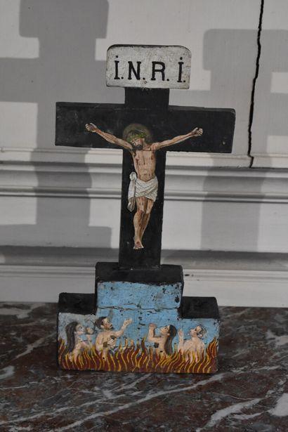 Christ miséricordieux en bois peint, XIXe...