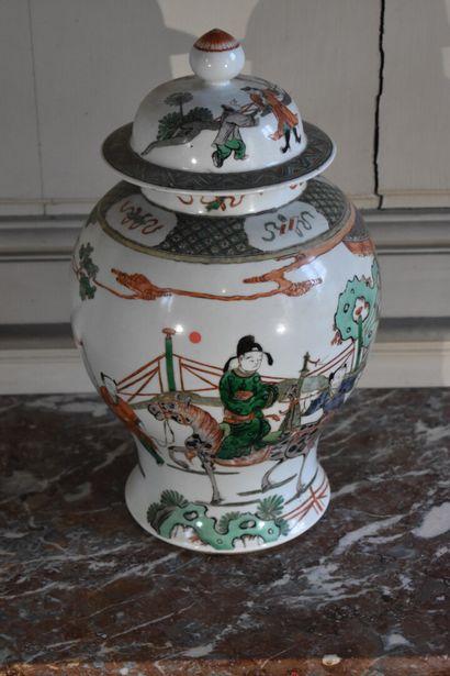 Potiche couverte en porcelaine de la Chine,...