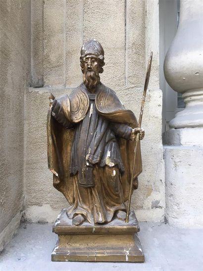 Saint Honoré en bois polychrome, XVIIIe siècle...