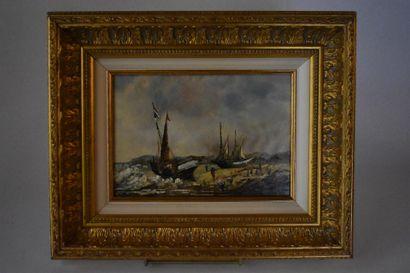 Roch KORDIAN (1950)  Marine  Huile sur panneau...