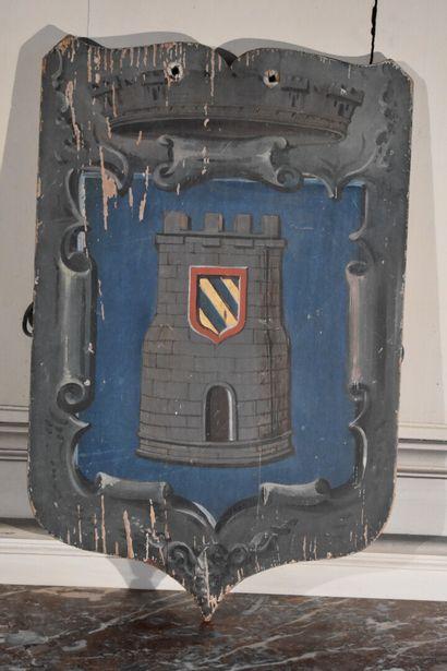 Blason en bois peint aux armes de Semur, première moitié du XXe siècle  62 x 38...