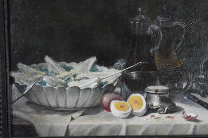Ecole française du XIXe siècle  Nature morte aux oeufs  Huile sur toile  46 x 55...