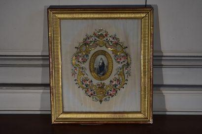 Broderie votive, fin du XIXe siècle, gros...
