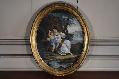 Ecole française du XIXe siècle  Femme à l'enfant...