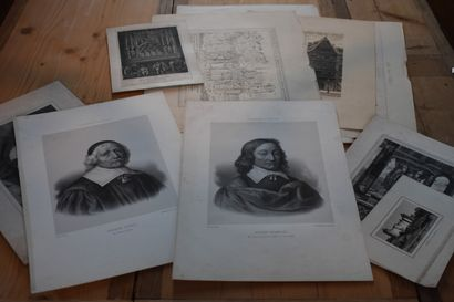Lot de gravures et lithographies, XIXe siècle...