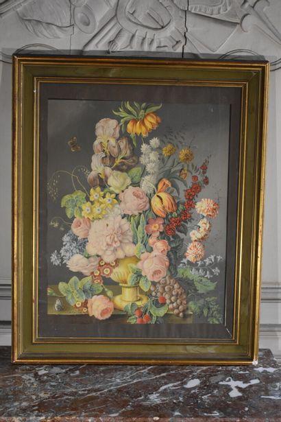 D'après Joseph NIGG (1782-1863)  Bouquet de fleurs  Lithographie en couleurs  60...