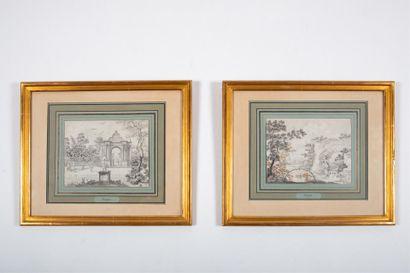 Hendrick HOOGERS (1747-1814)  Avril et Septembre  Deux lavis, mine de plomb, rehauts...