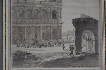 Attribué à Pierre Antoine DEMACHY (1723-1807)  Vue de Saint Sulpice  Lavis et encre...