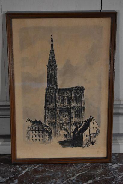 P. Lacombe, XXe siècle  Vue d'une cathédrale...