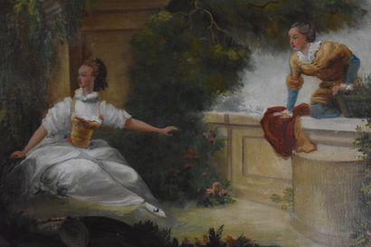 Ecole française du XIXe siècle, dans le goût de Boucher  Scène galante  Huile sur...