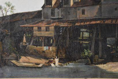 Ecole française du XIXe siècle  Les blanchisseuses  Huile sur toile  41 x 61 cm...