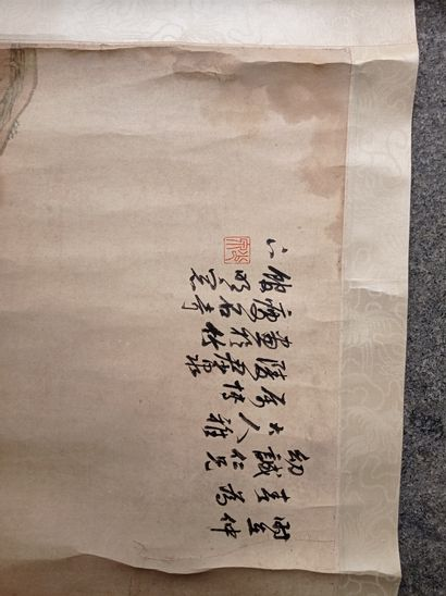 Peinture en rouleau à l'encre et couleur sur papier  Chine  Représentant deux chevaux...