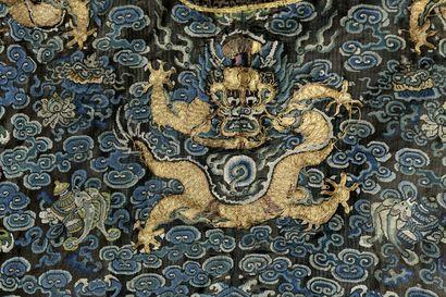 Robe d'été de cérémonie Chaopao en gaze noire brodée et tissée  Chine, XIXe siècle...