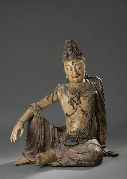 Grande sculpture de Bodhisattva Guanyin en...