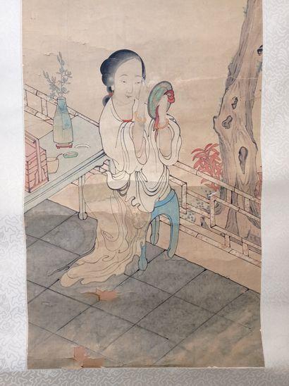 Peinture en rouleau à l'encre et couleur sur papier  Chine  À décor d'une femme...