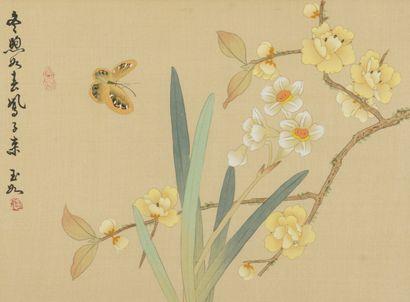 Deux peintures à l'encre et couleur sur soie  Chine  À décor de narcisses, iris,...