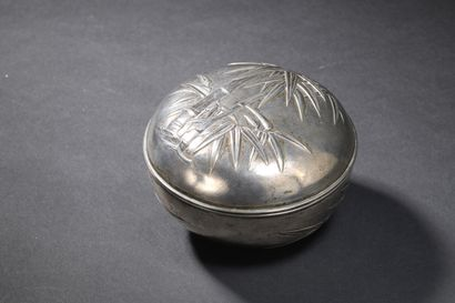 Boîte circulaire couverte en argent  Chine,...