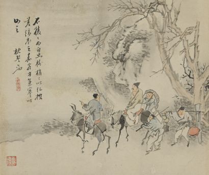 Album de douze peintures à l'encre et couleur sur papier Chine  À décor de diverses...