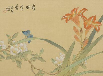Deux peintures à l'encre et couleur sur soie...