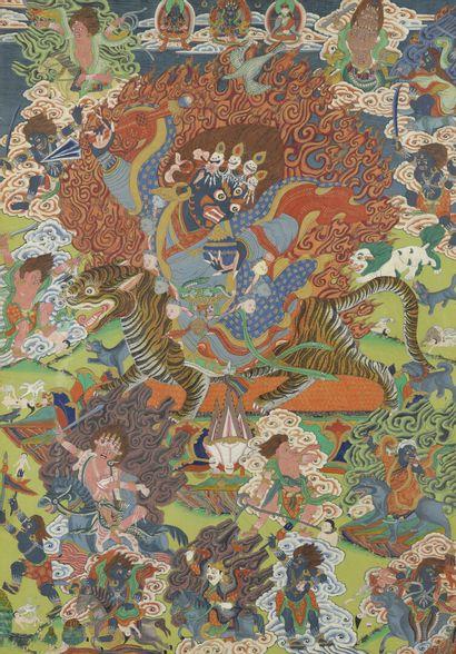 Peinture à l'encre et couleur sur papier  Tibet, XXe siècle  Représentant Mahakala...