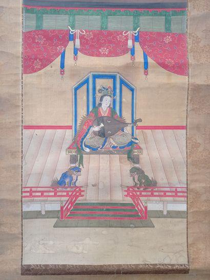Peinture en rouleau à l'encre et couleur sur soie  Japon, XIXe siècle  À décor d'une...
