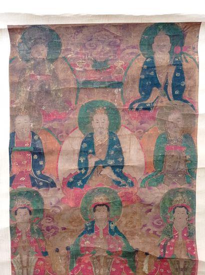 Peinture en rouleau à l'encre et couleur sur soie  Chine, fin du XIXe siècle  À...
