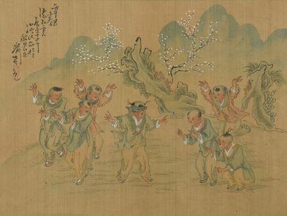 Six peintures à l'encre et couleur sur soie  Chine  Représentant des scènes animées...