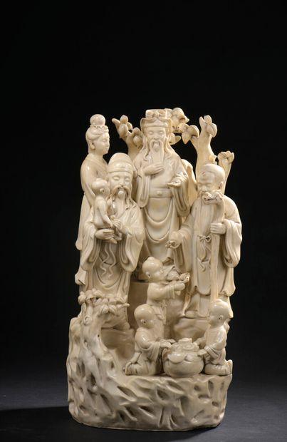 Groupe en porcelaine blanche Chine, XXe siècle...
