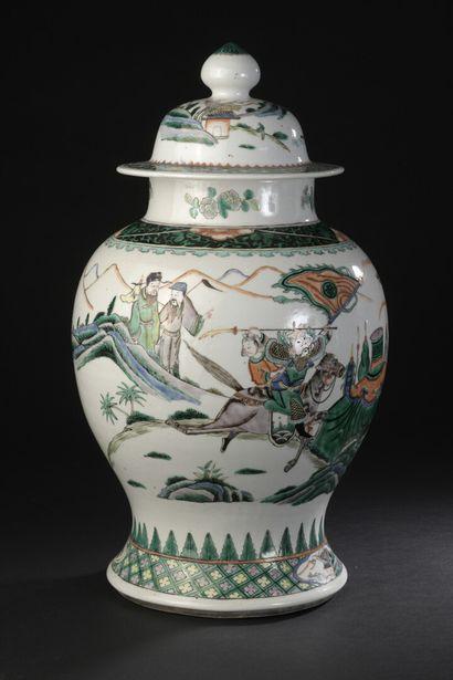 Potiche couverte en porcelaine famille verte...