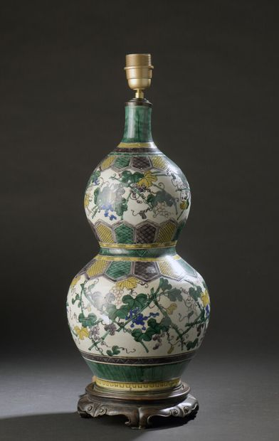 Vase double gourde en porcelaine Kutani  Japon,...