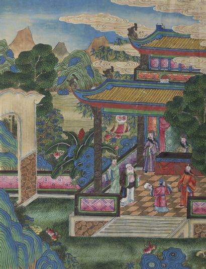 Page d'album à l'encre et couleur sur soie  Chine, fin du XIXe-début du XXe siècle...