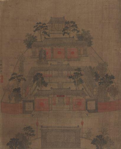 Peinture à l'encre et couleur sur soie Chine Représentant des maisons traditionnelles...