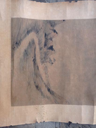 Peinture en rouleau à l'encre et couleur sur papier  Chine  À décor de maisons dans...