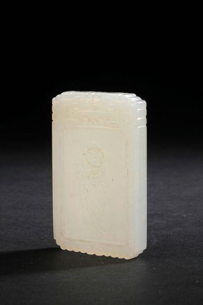 Pendentif en jade blanc sculpté  Chine  En...
