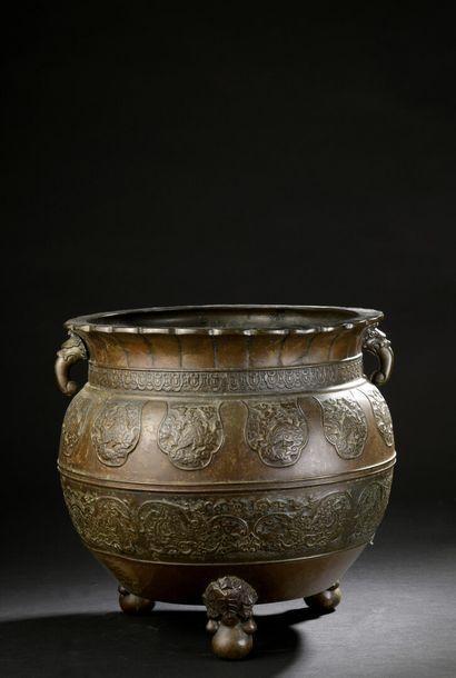 Grand brûle-parfum tripode en bronze  Japon,...