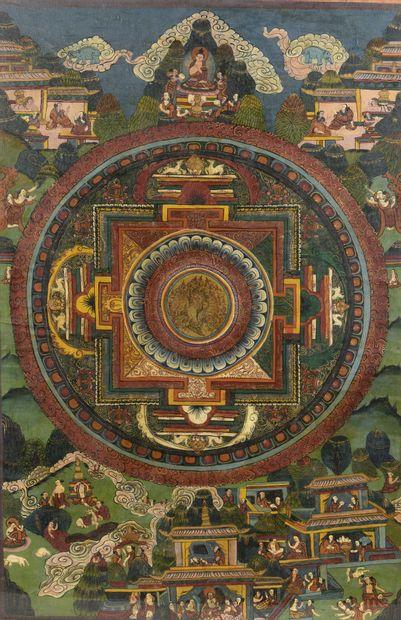 Thangka représentant un mandala à l'encre et couleur sur toile  Tibet, XXe siècle...