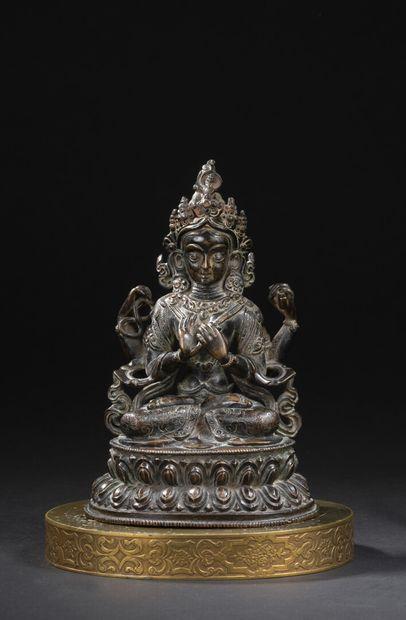 Statuette d'Avalokitesvara en bronze  Chine,...