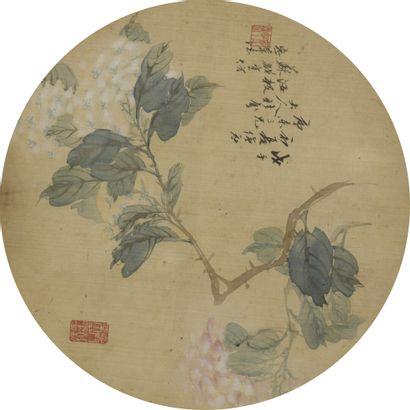 Peinture à l'encre et couleur sur soie  Chine, dynastie Qing (1644-1908)  Circulaire,...