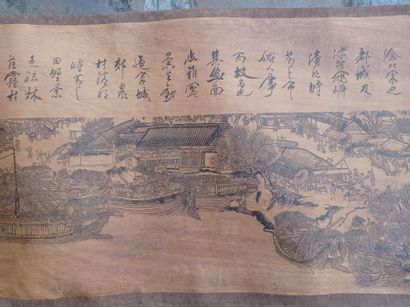 Impression en rouleau à l'encre sur papier  Chine  Reproduction de la célèbre peinture...