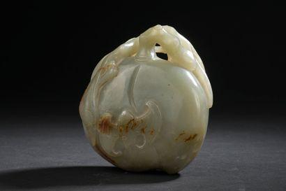Groupe en jade céladon  Chine, début du XXe...