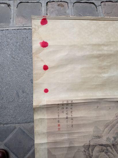 Peinture en rouleau à l'encre et couleur sur papier  Chine  À décor de personnages...