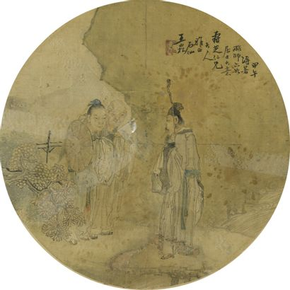 Peinture à l'encre et couleur sur soie  Chine  Circulaire, à décor de trois personnages...
