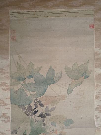 Peinture en rouleau à l'encre et couleur sur soie  Chine, XIXe siècle  À décor de...