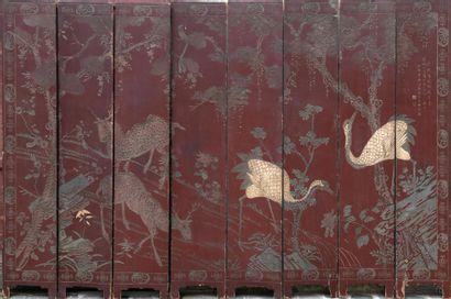 Grand paravent à huit feuilles en laque de Coromandel  Chine, XIXe siècle  Décoré...